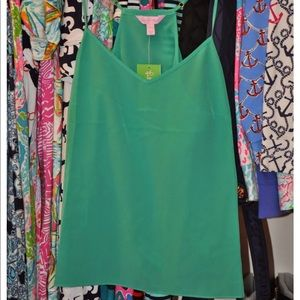 Lilly Pulitzer Cami Tank-Top Green Silk Small